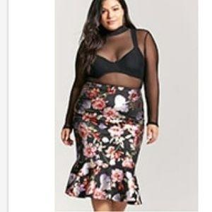 Forever21+ Metallic Floral Flounce Skirt